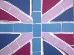 Mosaic funky Union Jack wall hanging or placemat