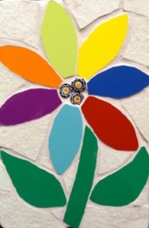 Mosaic flower gem wall hanging
