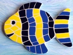 Mosaic happy fish wall hanging