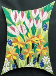 Mosaic spring flowers wall hanging