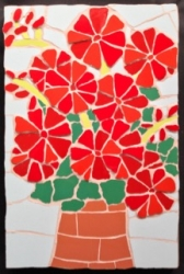 Mosaic red geraniums wall hanging