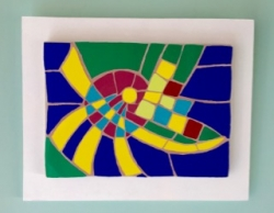 A Kandinsky inspired abstract mounted mosaic