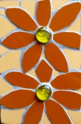Mosaic flower gem wall hanging with glass bead centres