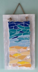 Coastal sea and sand mosaic with shells, mounted on distressed wood with rope wall hanging