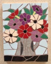 Jug of anemones mosaic