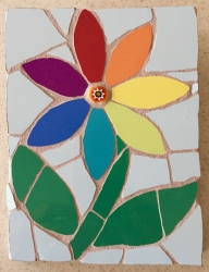 Mosaic rainbow flower with milefiori centre