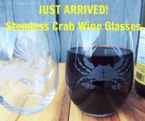 Stemless Etched Crab Wineglass