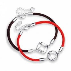 赤い糸 黒い糸 ペアブレスレット 人気 刻印 男女ペアセット 二人の記念日