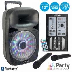 Coluna amplificada Party SP500 - 500W - 12 polegadas - 2 Micros + USB + SD Cards + Bluetooth + Comando - a bateria/s