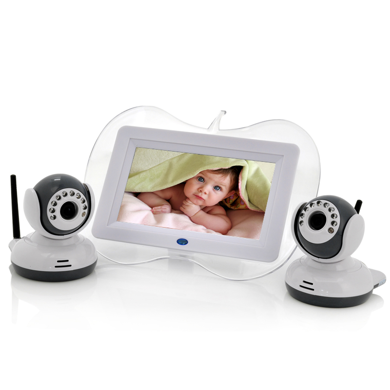 baby monitor with 2 night vision camera and two way intercom. Black Bedroom Furniture Sets. Home Design Ideas